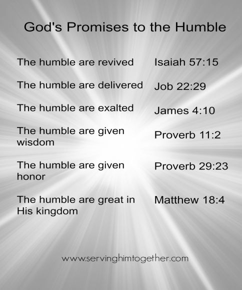 God's promises that proceed from humility