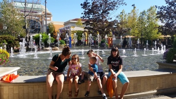 family at fountain
